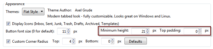 new button height settings