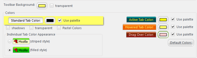 palette override