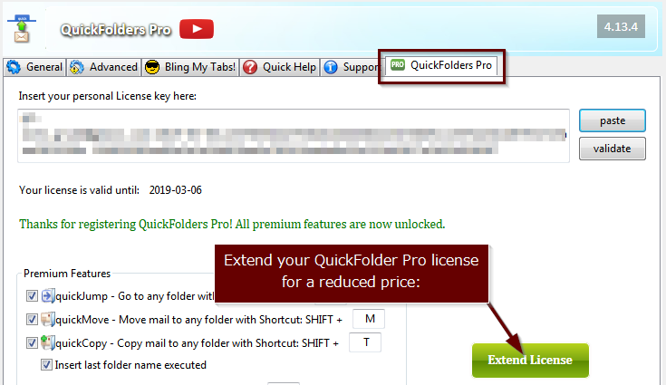 renew QuickFolders license